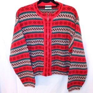 Benetton Vintage Shetland Wool Cardigan Sweater